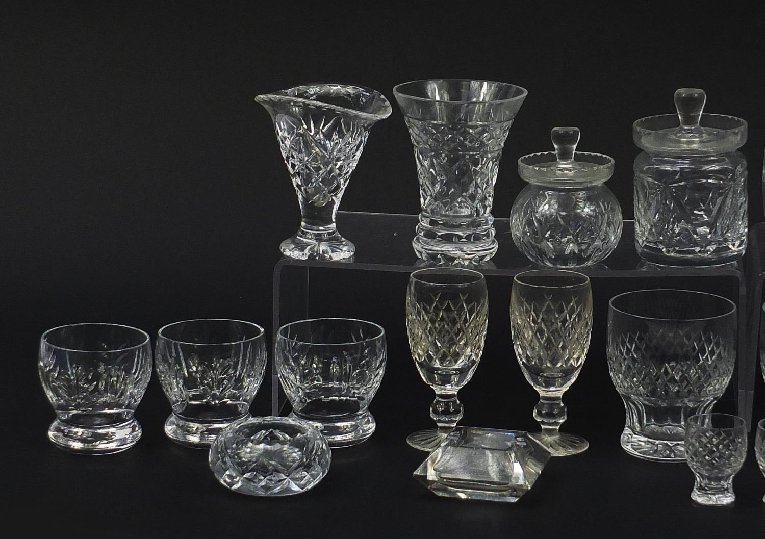 Cut glassware including four Waterford glasses, two jugs and balloon tumblers, the largest 18cm high - Image 2 of 5