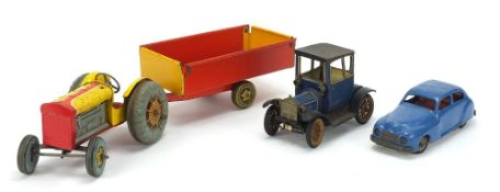 Antique and later tinplate toys comprising a Schuco Ford Coupet 1917, Chad Valley Harborme car and a