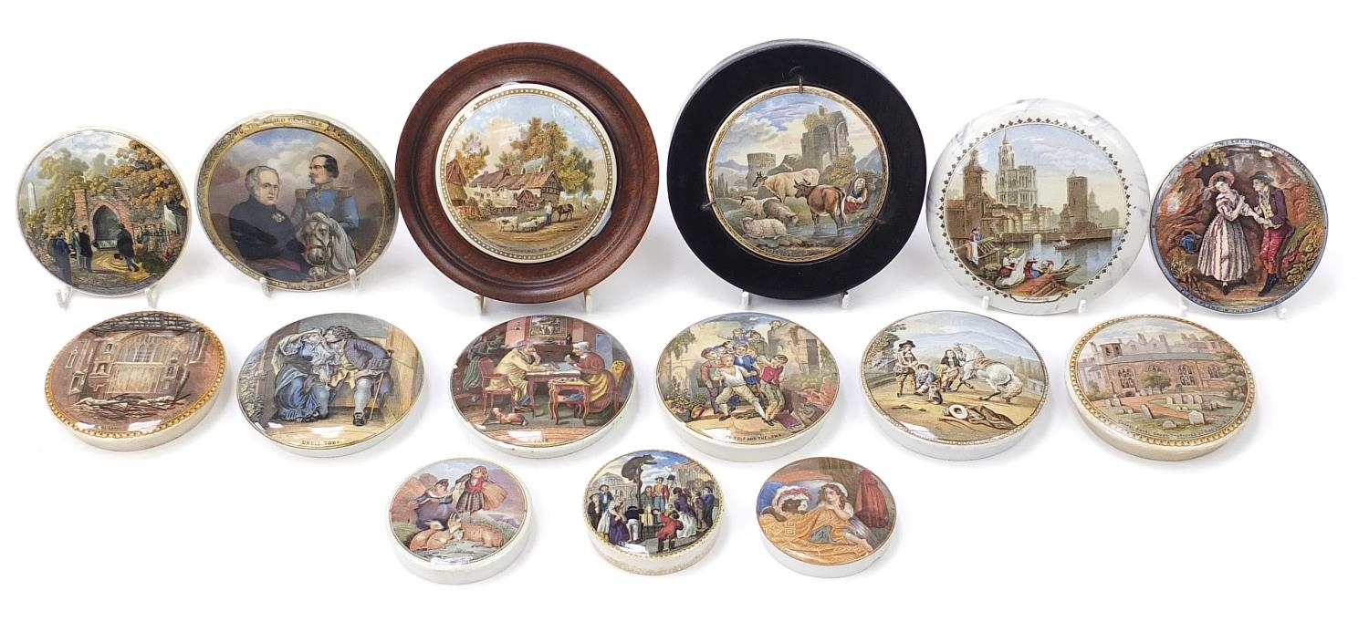 Fifteen 19th century Prattware pot lids including Uncle Toby, HRH Prince of Wales visiting the