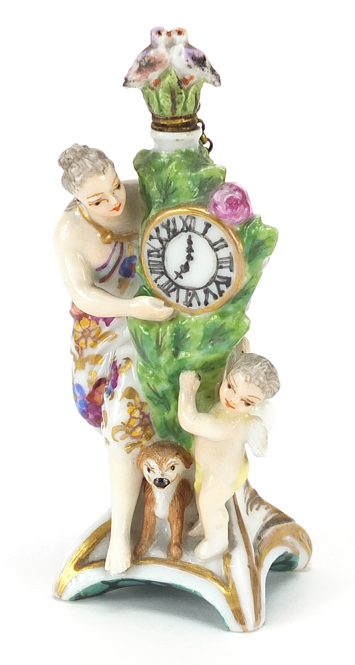 Antique Chelsea style figural scent bottle with bird stopper, 8.5cm high : For Further Condition