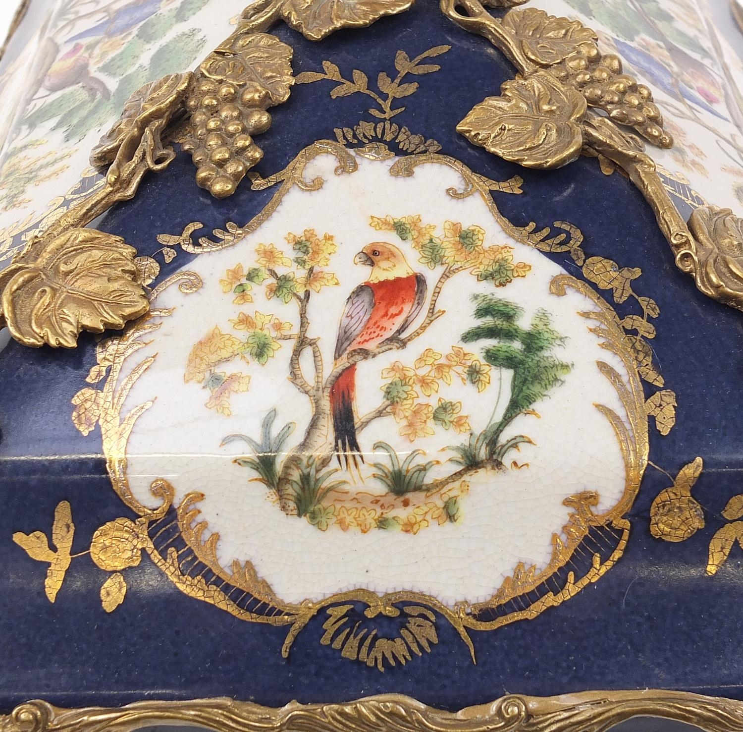 Continental bronze mounted porcelain table casket decorated with birds, leaves and berries, 35cm H x - Image 7 of 10