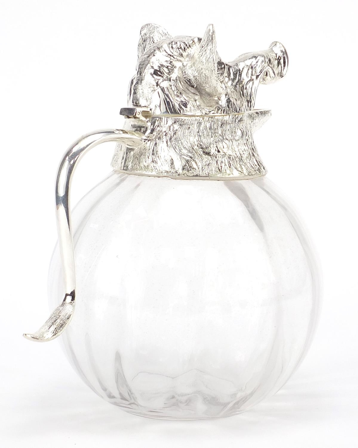 Manner of Valenti, globular glass carafe with silver plated mounts in the form of a boars head, 28cm - Image 5 of 10