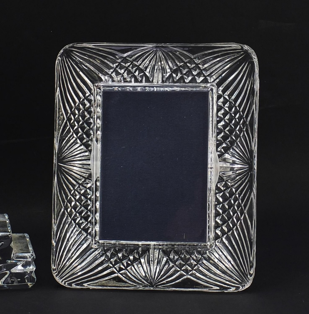Waterford Crystal mantle clock and pair of French crystal photo frames, the largest 18.5cm wide : - Image 3 of 7