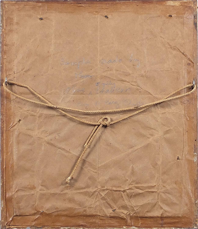 Vintage alphabet sampler by Olive Windsor, aged 12, 1915, details verso, mounted, framed and glazed, - Image 3 of 4