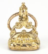 Georgian unmarked gold quartz fob with split ring, the fob 3cm high, total 18.2g : For Further