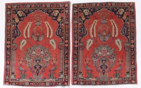 Pair of rectangular Cashmere prayer mats with birds and flowers in a floral border, 87cm x 66cm :
