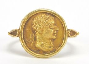 Antique gold Roman head coin ring, size P, 4.7g : For Further Condition Reports Please Visit Our
