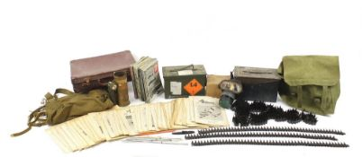 Militaria including ammunition tins, trench art shell case engraved with a dragon and gas mask : For