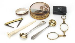 Antique and later objects including two Georgian silver spoons, circular snuff box inscribed The