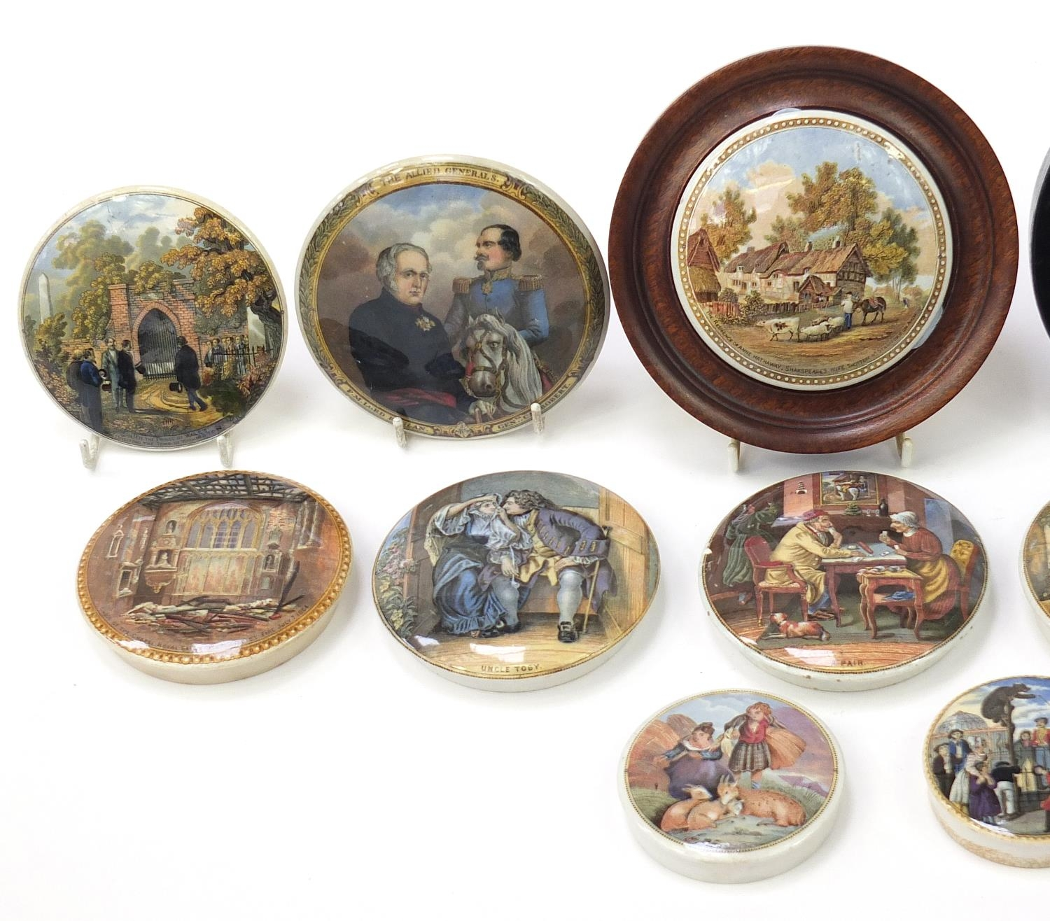 Fifteen 19th century Prattware pot lids including Uncle Toby, HRH Prince of Wales visiting the - Image 2 of 4