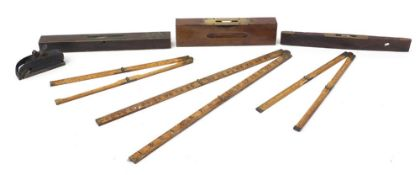Antique and later rules, levels and a smoothing plane including J Rabone & Sons : For Further