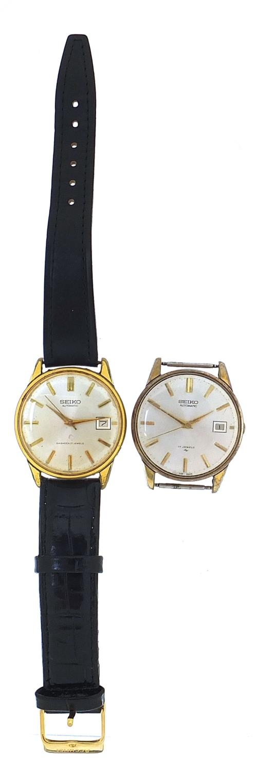 Seiko, two vintage gentlemen's automatic wristwatches with date aperture, each 36mm in diameter : - Image 2 of 6