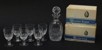 Waterford Crystal Colleen pattern decanter and six glasses with boxes, the decanter 26cm high :