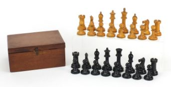Boxwood and ebony Staunton chess set with mahogany case, possibly by Jaques, the largest piece 8.5cm