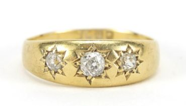 18ct gold diamond three stone Gypsy ring, size U, 5.0g : For Further Condition Reports Please