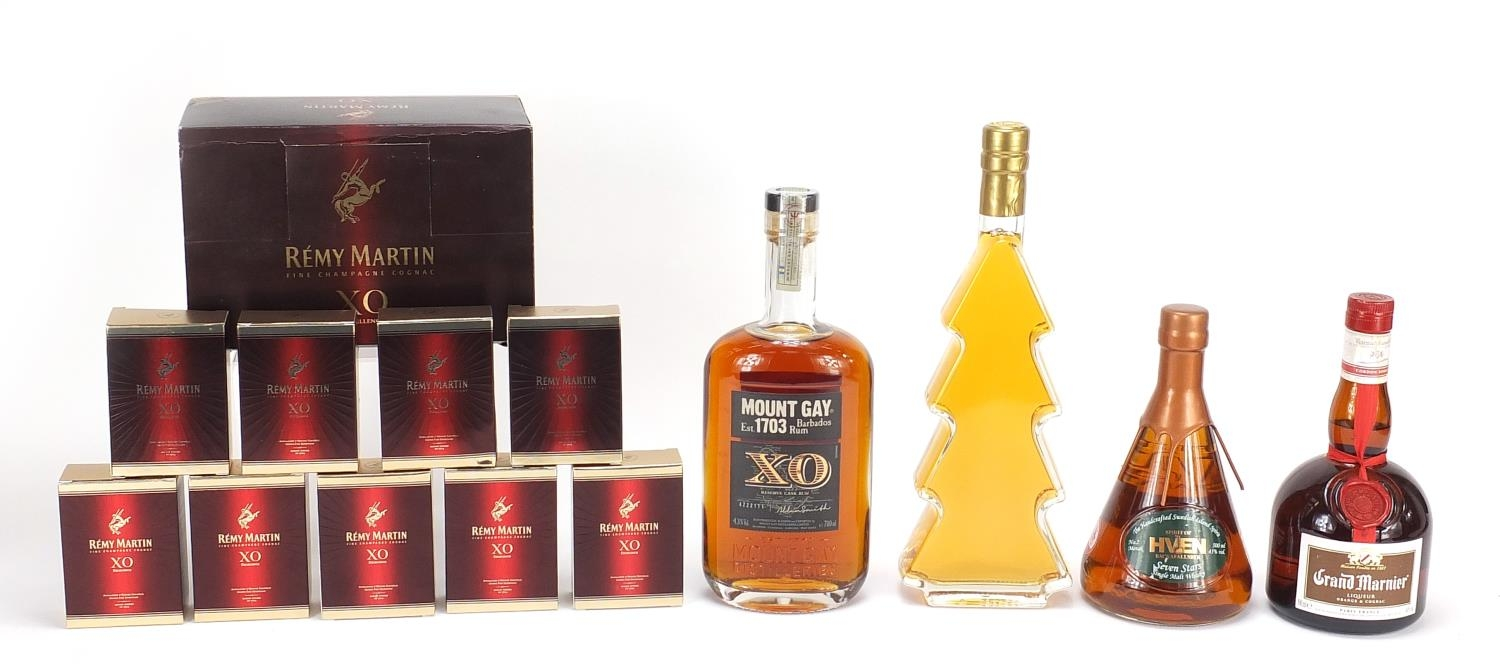 Alcohol comprising nine 5cl bottles of Remy Martin XO fine Champagne cognac, Mount Gay XO Barbados