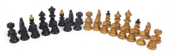 Boxwood and ebony chess set, the largest pieces each 6cm high : For Further Condition Reports Please