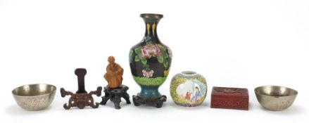 Chinese items including a carved cinnabar lacquer box, cloisonne baluster vase and two hardwood