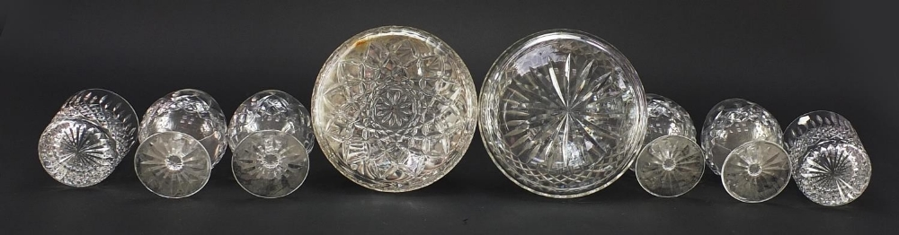 Glassware and a silver brandy decanter label, comprising two ship's decanters, set of four Waterford - Image 7 of 8
