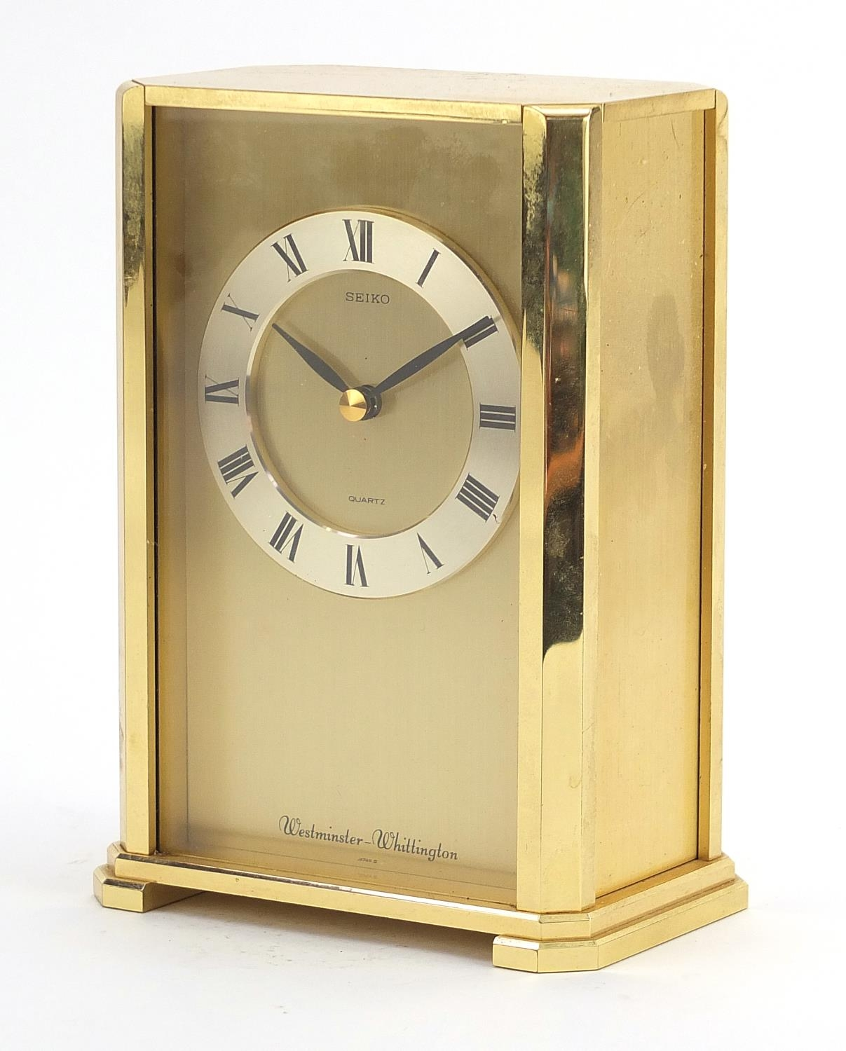 Seiko Westminster-Whittington mantle clock with Roman numerals, 20cm high : For Further Condition