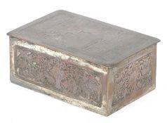 WMF silver plated casket titled Le Baiser a la Derdbee, 5.5cm H x 13.5cm W x 9cm D : For Further