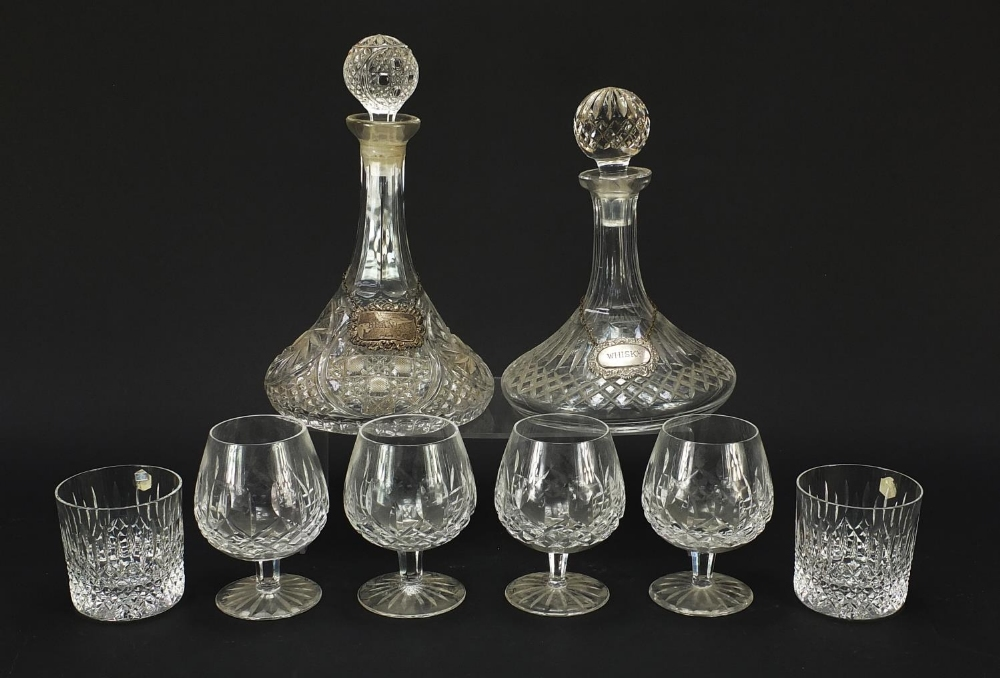 Glassware and a silver brandy decanter label, comprising two ship's decanters, set of four Waterford - Image 2 of 8