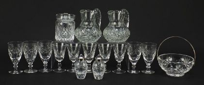 Cut glassware and crystal including pair of Waterford casters, Stuart and Royal Doulton, the largest