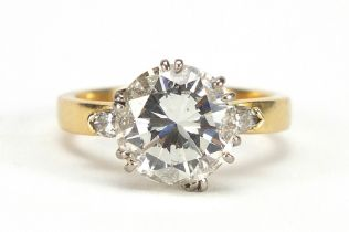 18ct gold diamond solitaire ring, round brilliant cut, approximately 3.65 carats, size N, 5.2g : For