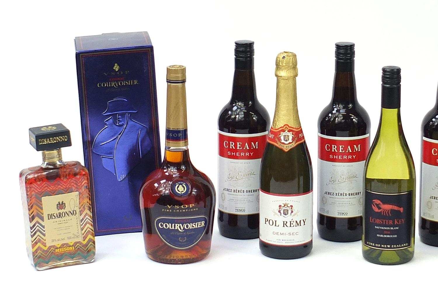 Sixteen bottles of alcohol including one litre bottle of Courvoisier cognac with box, Veuve - Image 2 of 7