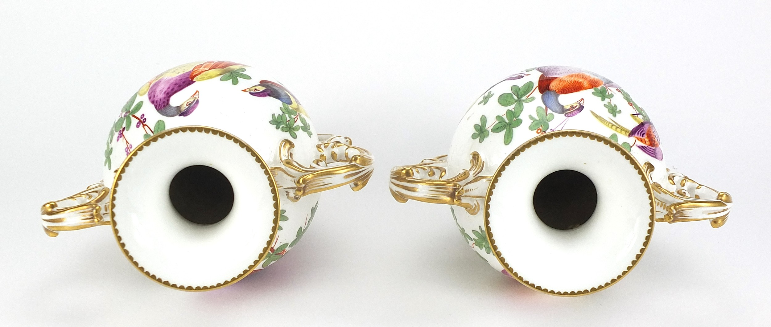Pair of 19th century Chelsea style porcelain vases with twin handles, each hand painted with - Image 3 of 4