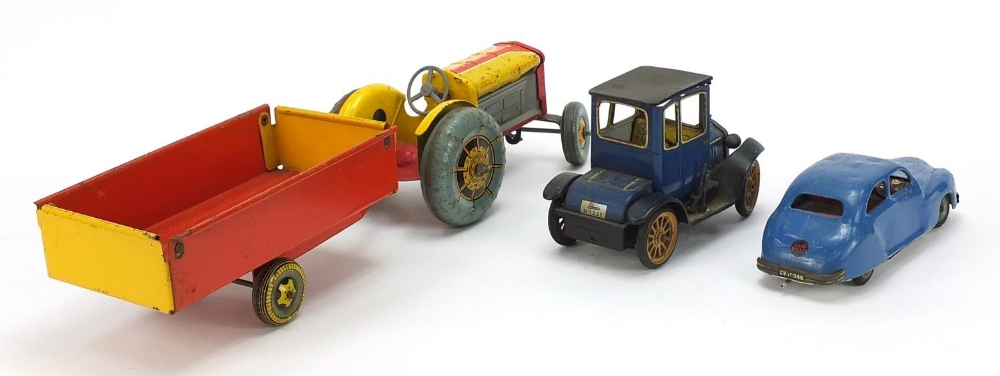 Antique and later tinplate toys comprising a Schuco Ford Coupet 1917, Chad Valley Harborme car and a - Image 4 of 6