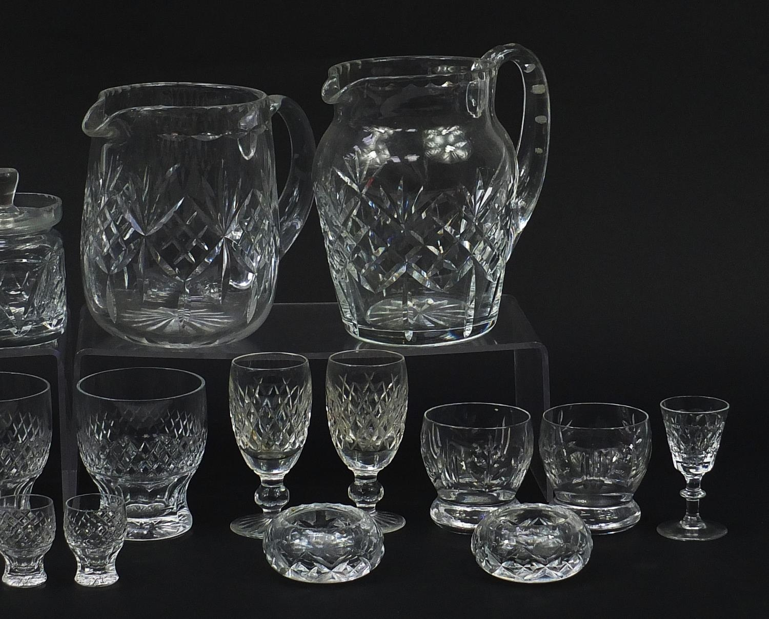 Cut glassware including four Waterford glasses, two jugs and balloon tumblers, the largest 18cm high - Image 4 of 5