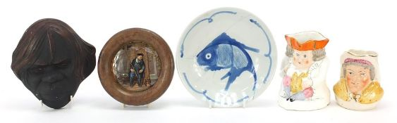 Ceramics and a plaster face mask comprising a Prattware pot lid, Chinese plate and two character