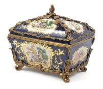 Continental bronze mounted porcelain table casket decorated with birds, leaves and berries, 35cm H x
