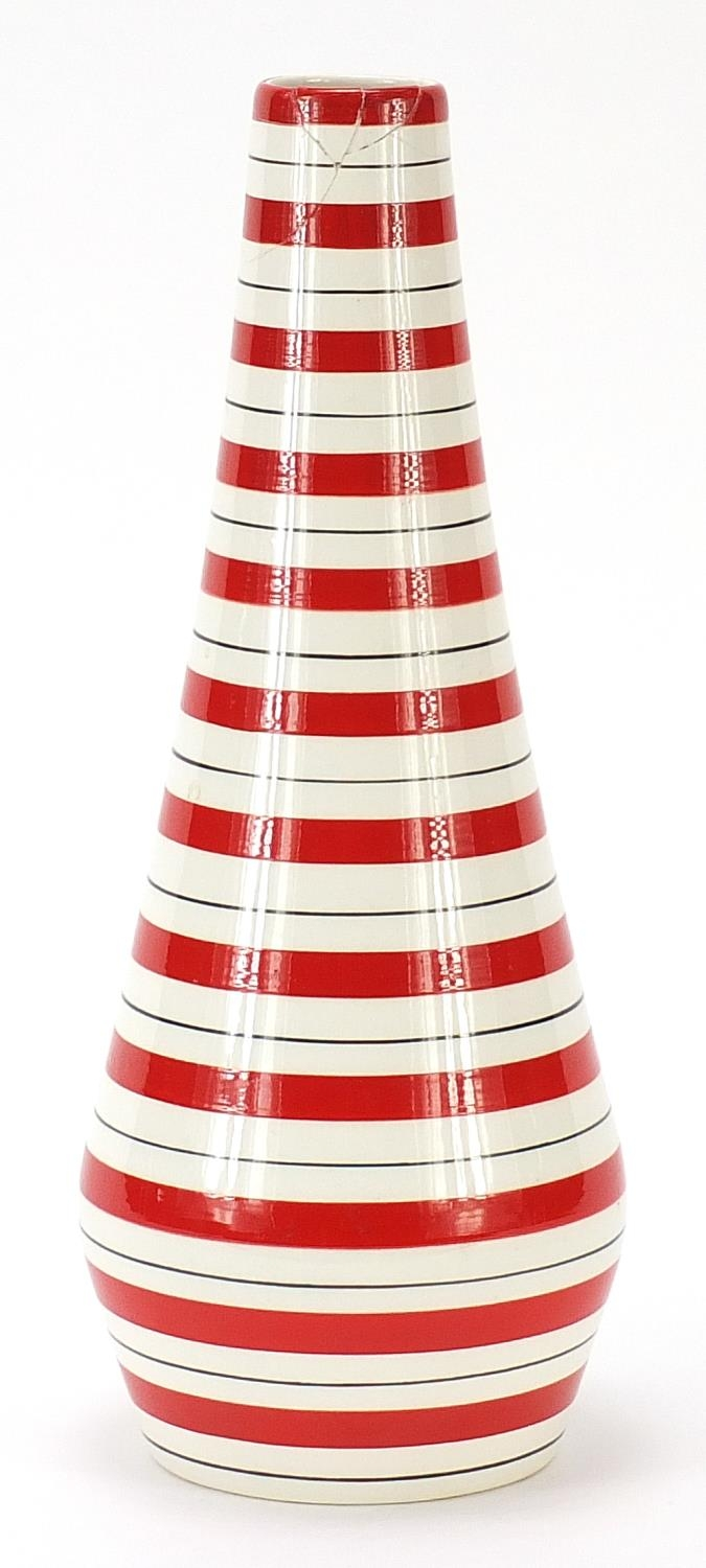 Jessie Tait for Midwinter, modern vase with painted red stripes, 28.5cm high : For Further Condition - Image 2 of 5