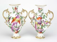 Pair of 19th century Chelsea style porcelain vases with twin handles, each hand painted with