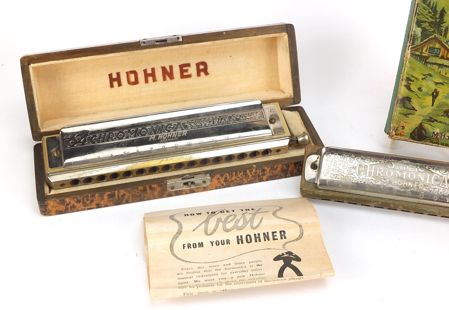 Three vintage harmonicas including The 64 Chromonica by Hohner, Super Chromonica by Hohner and - Image 3 of 6