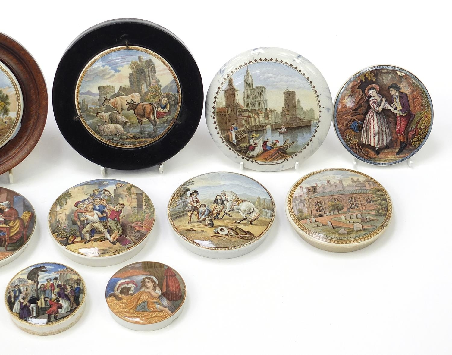 Fifteen 19th century Prattware pot lids including Uncle Toby, HRH Prince of Wales visiting the - Image 3 of 4