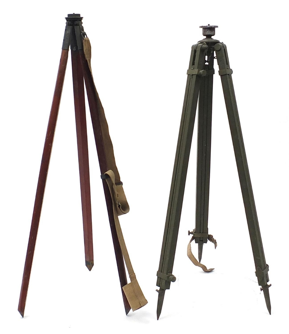Two military interest floor standing tripods/stands including MO17 MKII dated 1942, the largest