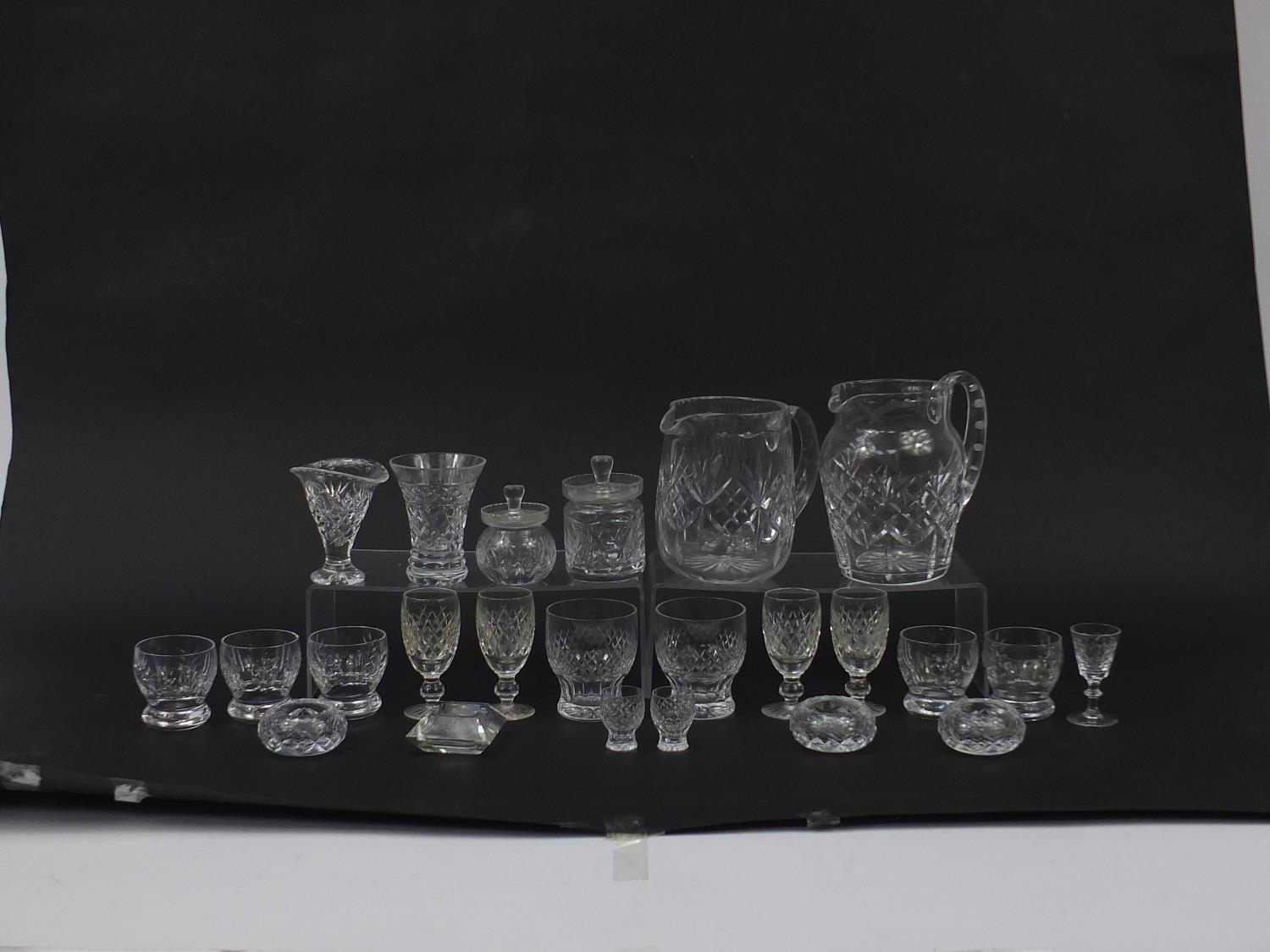 Cut glassware including four Waterford glasses, two jugs and balloon tumblers, the largest 18cm high - Image 5 of 5