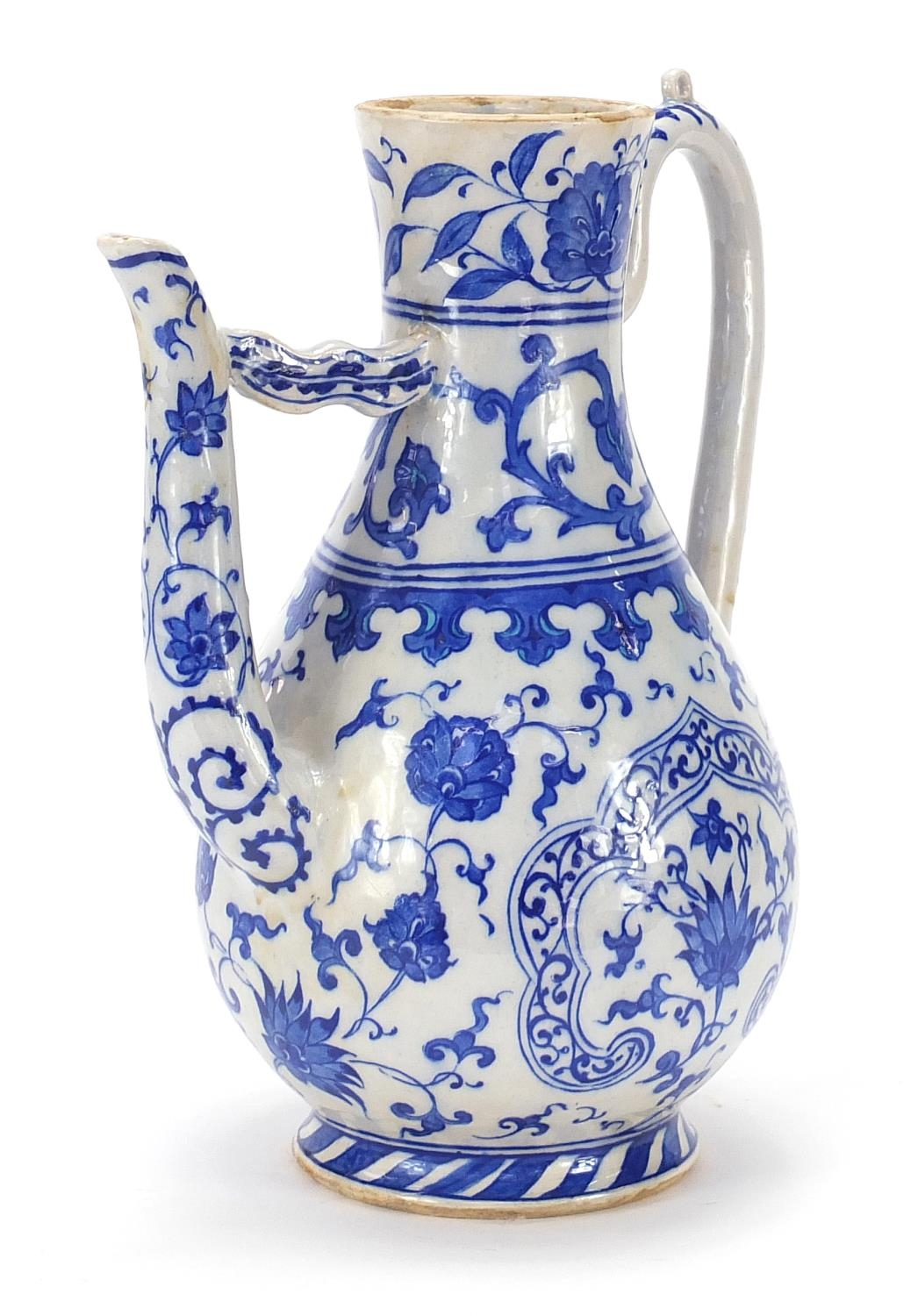 Turkish Iznik pottery water carafe decorated with flowers, 29.5cm high : For Further Condition