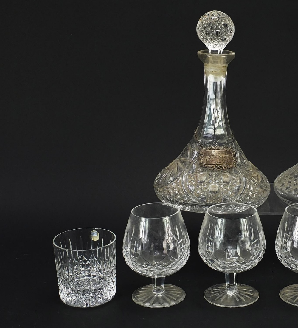 Glassware and a silver brandy decanter label, comprising two ship's decanters, set of four Waterford - Image 3 of 8