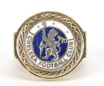 9ct gold ring with 925 silver and enamel Chelsea Football Club emblem, size P, 10.9g : For Further