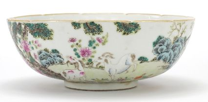 Chinese porcelain famille rose bowl with goats, red six figure character marks to the base, 22cm