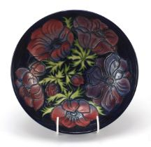 Moorcroft pottery bowl hand painted with flowers, numbered 34194, 28cm in diameter