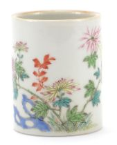 Chinese porcelain brush pot finely hand painted in the famille rose palette with flowers,