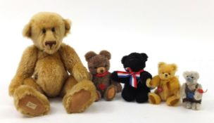 Five articulated teddy bears to include Deans Rag Book, Merrythought and Herman, the largest 44cm