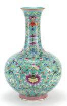Large Chinese porcelain turquoise ground vase, finely hand painted in the famille rose palette