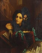 Rosina, young Spanish lady at prayer, antique oil on copper panel housed in an ornate gilt frame,