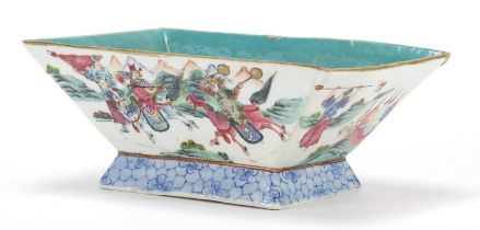 Chinese porcelain planter hand painted in the famille rose palette with warriors, red character mark